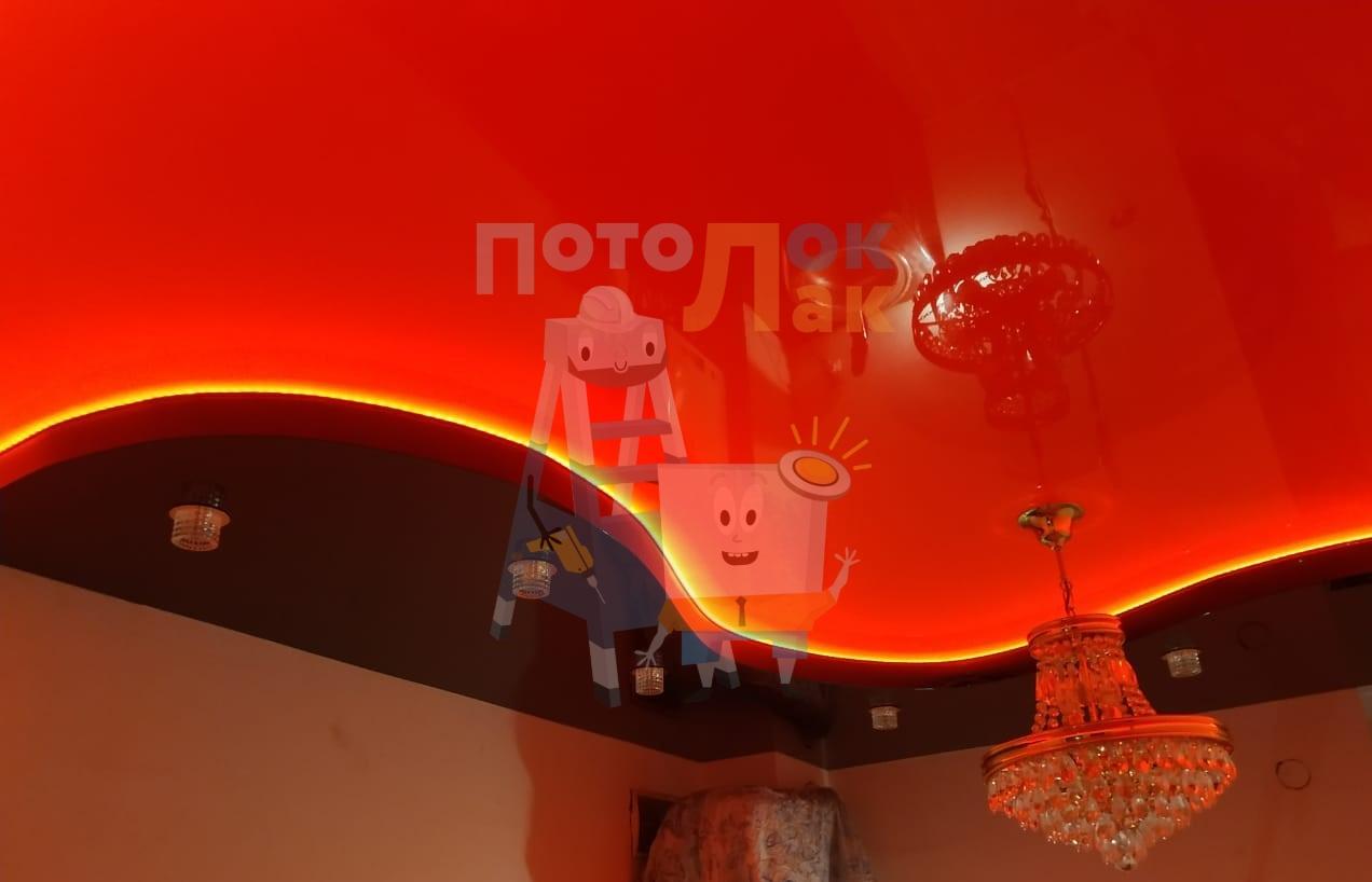 Натяжные потолки красные в Кемерово фото 8
